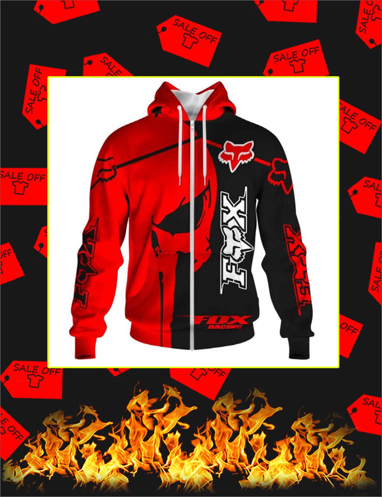 Fox Racing Red Punisher Skull 3D Zip Hoodie