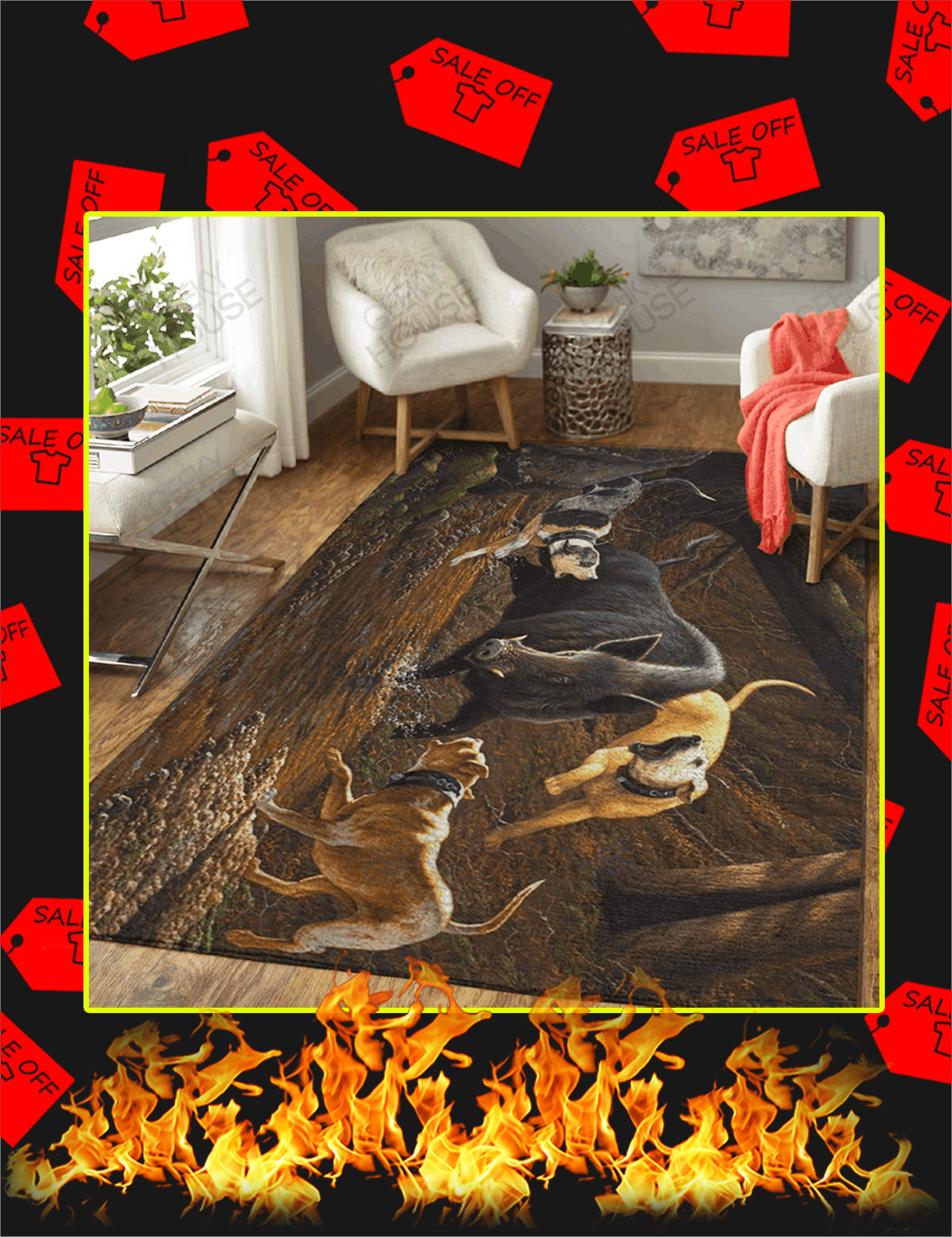 Hunting Wild Trophy Boars Hunting Lovers Area Rugs - Large