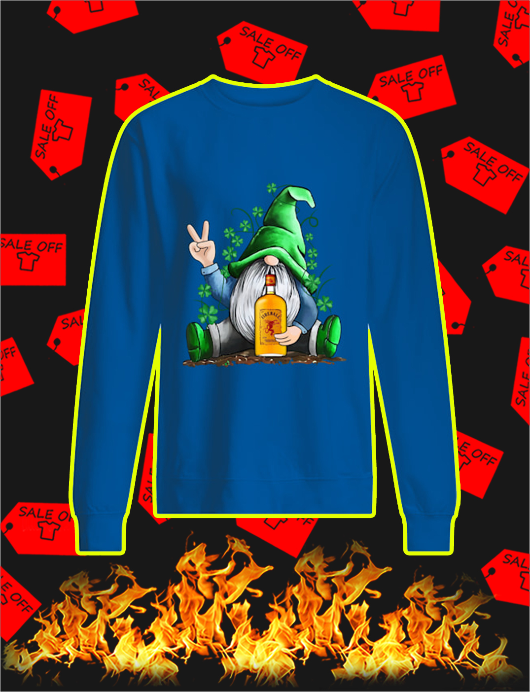 Irish Gnome Hug Fireball Cinnamon Whisky St Patrick's Day sweatshirt