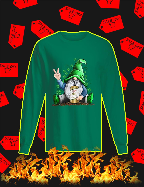 Irish Gnome Hug Miller High Life St Patrick's Day Long Sleeve Tee