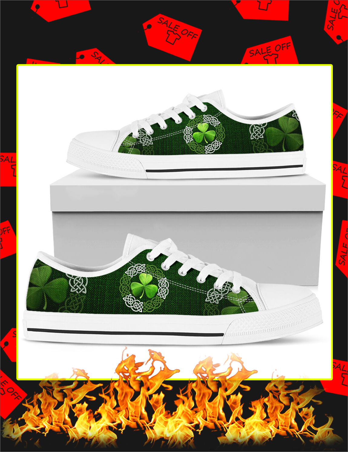 Irish Shamrock Celtic Circle Vector Low Top - Picture 1