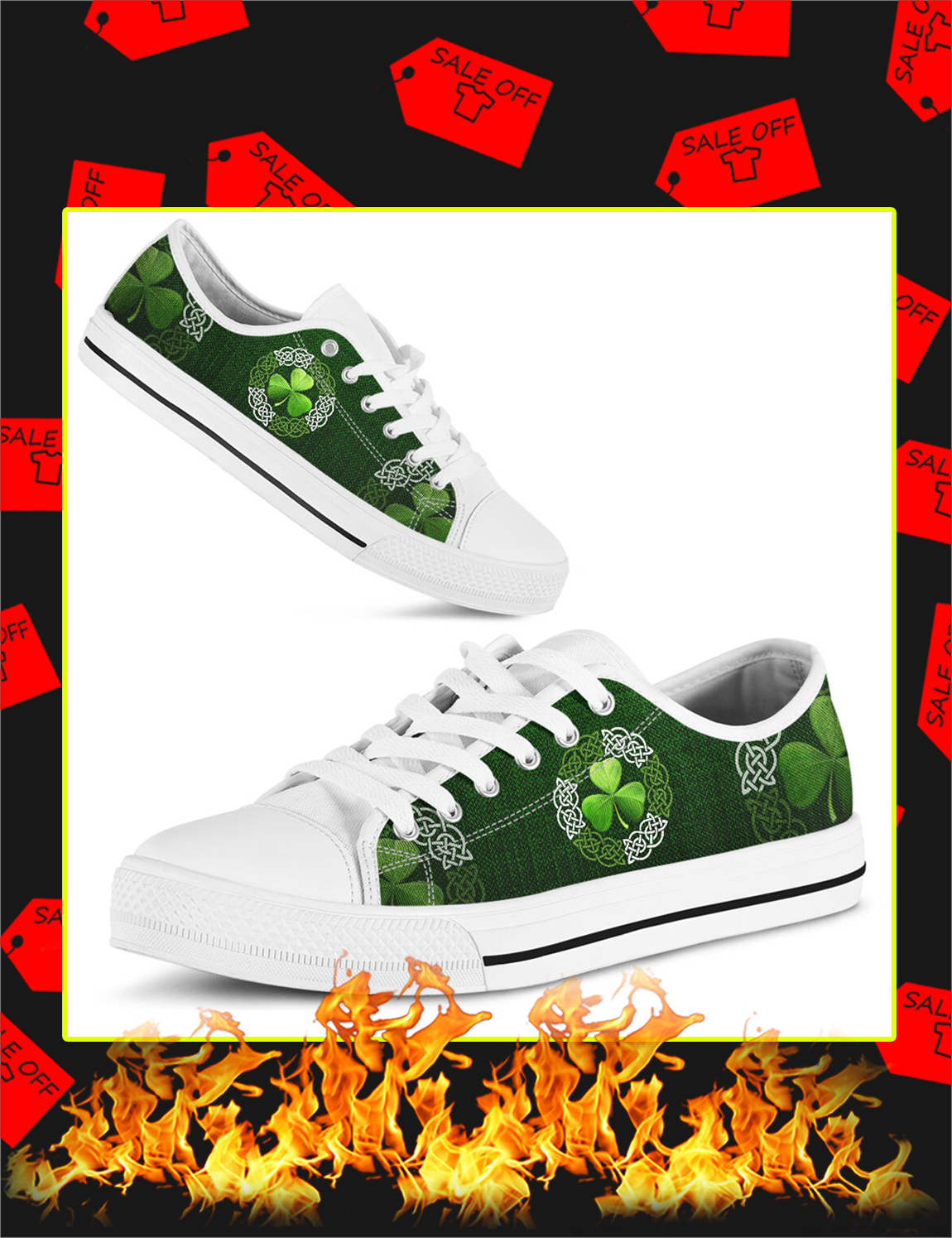 Irish Shamrock Celtic Circle Vector Low Top - Picture 3
