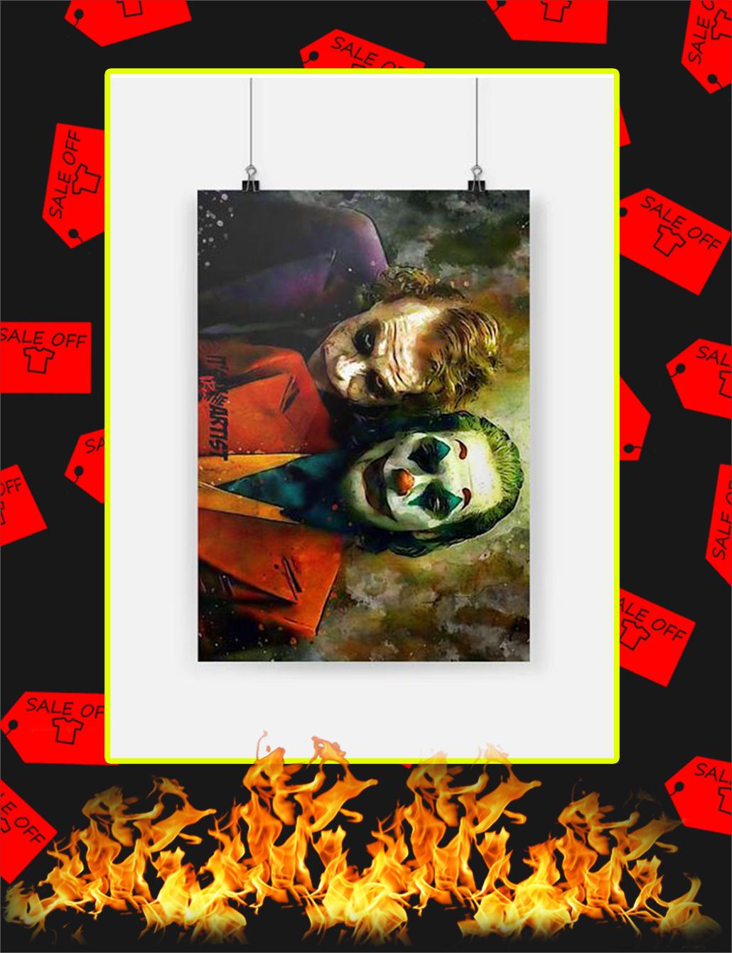 Joker Joaquin Phoenix and Heath Ledger Poster - A3