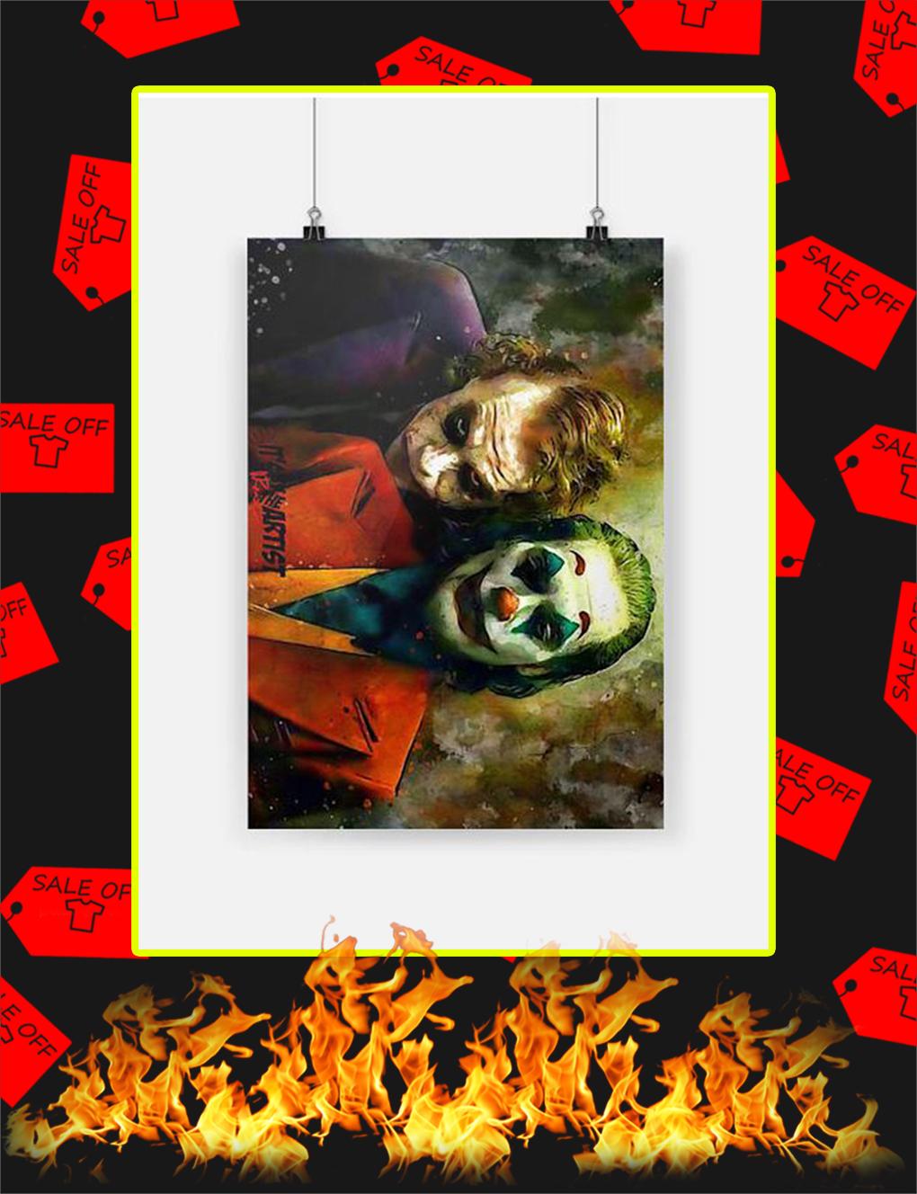 Joker Joaquin Phoenix and Heath Ledger Poster - A4