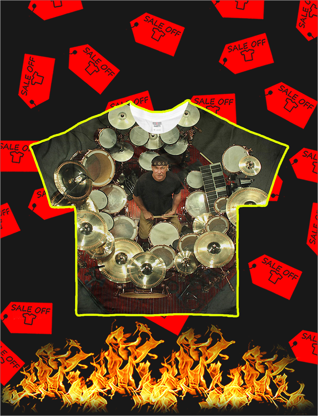 Neil Peart with Drums Unique All Over T-Shirt-front