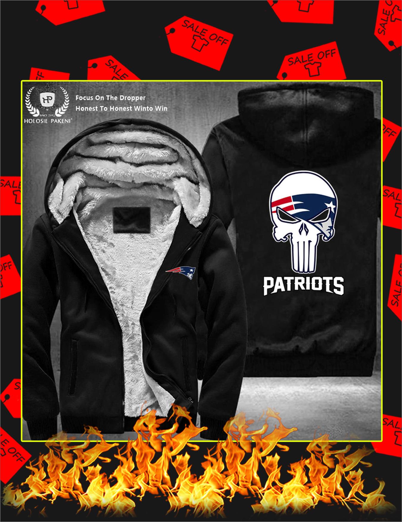 New England Patriots NFL Punisher Skull Fleece Zip Hoodie - Black