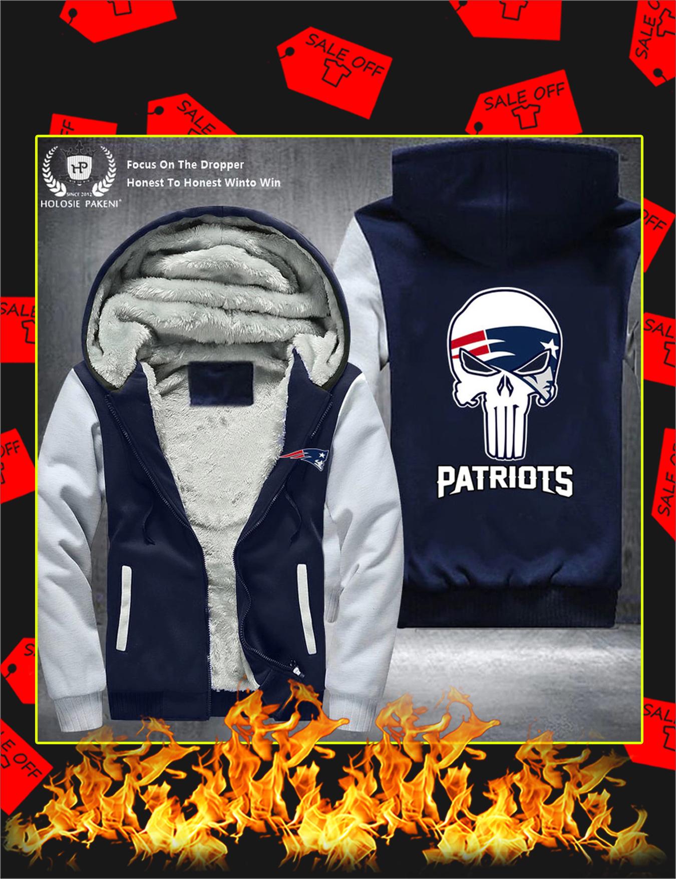 New England Patriots NFL Punisher Skull Fleece Zip Hoodie - Grey
