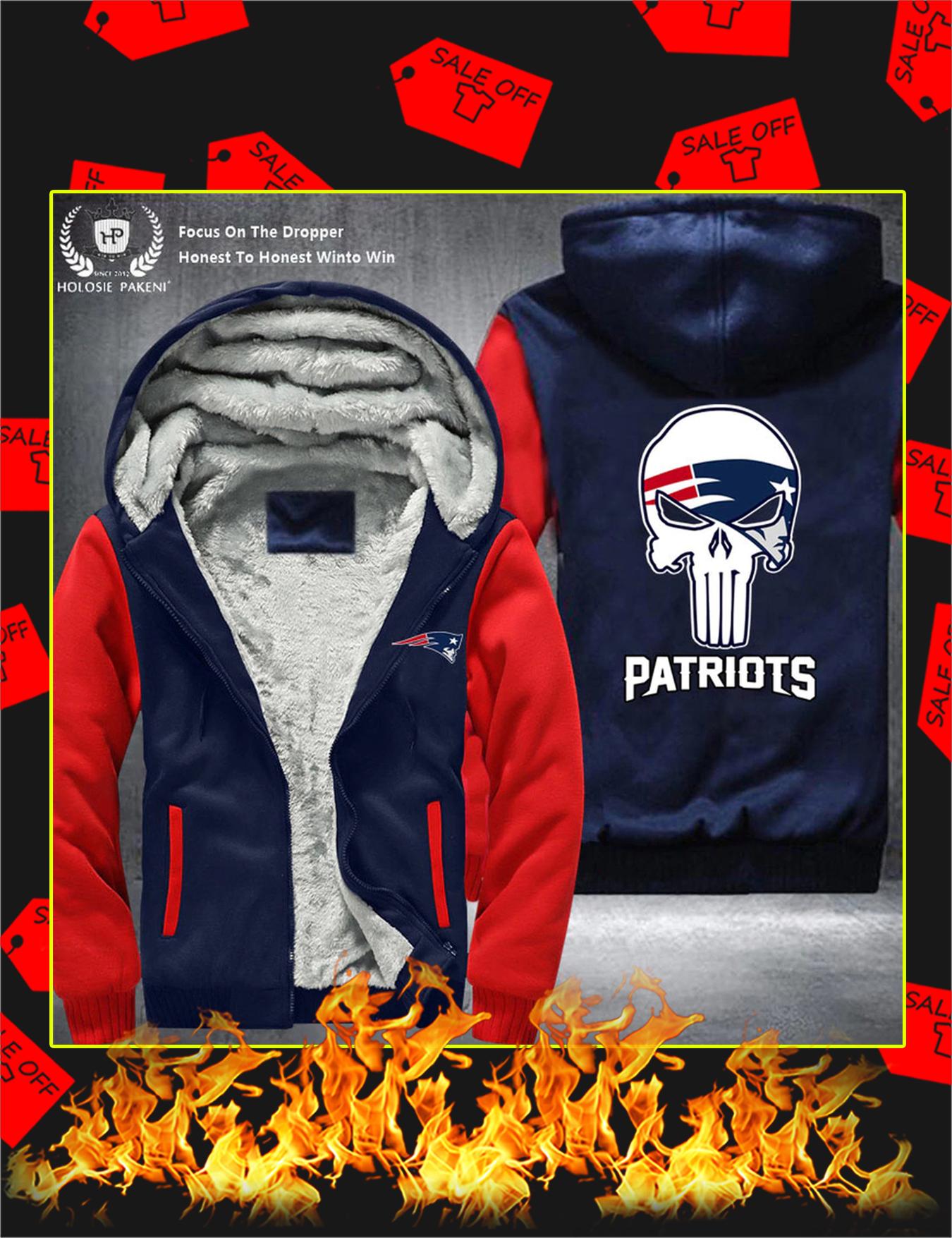 New England Patriots NFL Punisher Skull Fleece Zip Hoodie - Red
