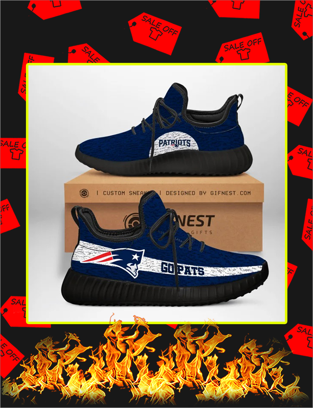 New England Patriots NFL Yeezy Sneaker - white