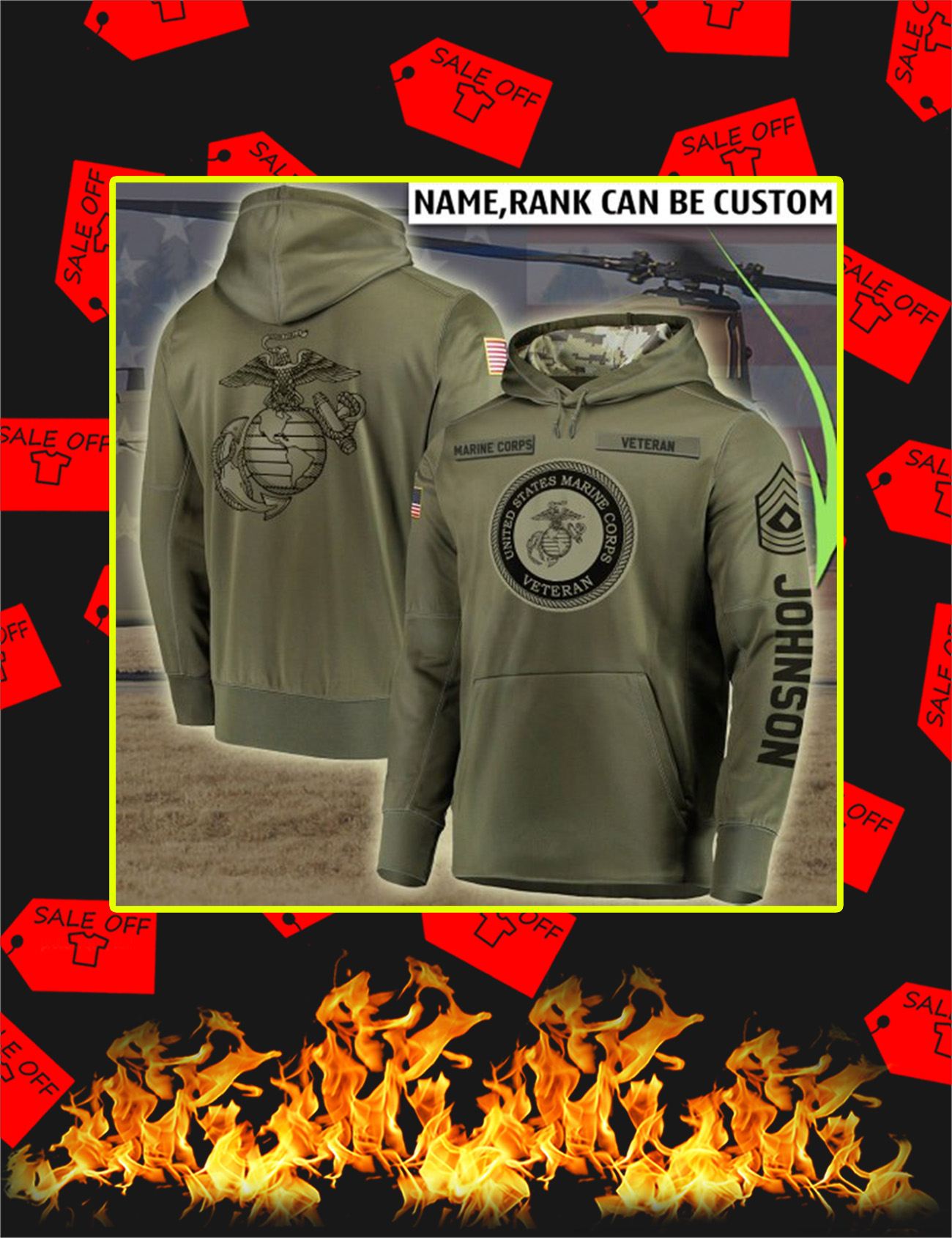 Personalized Custom Name US Marine Corps Veteran All Over Printed Hoodie - Size L