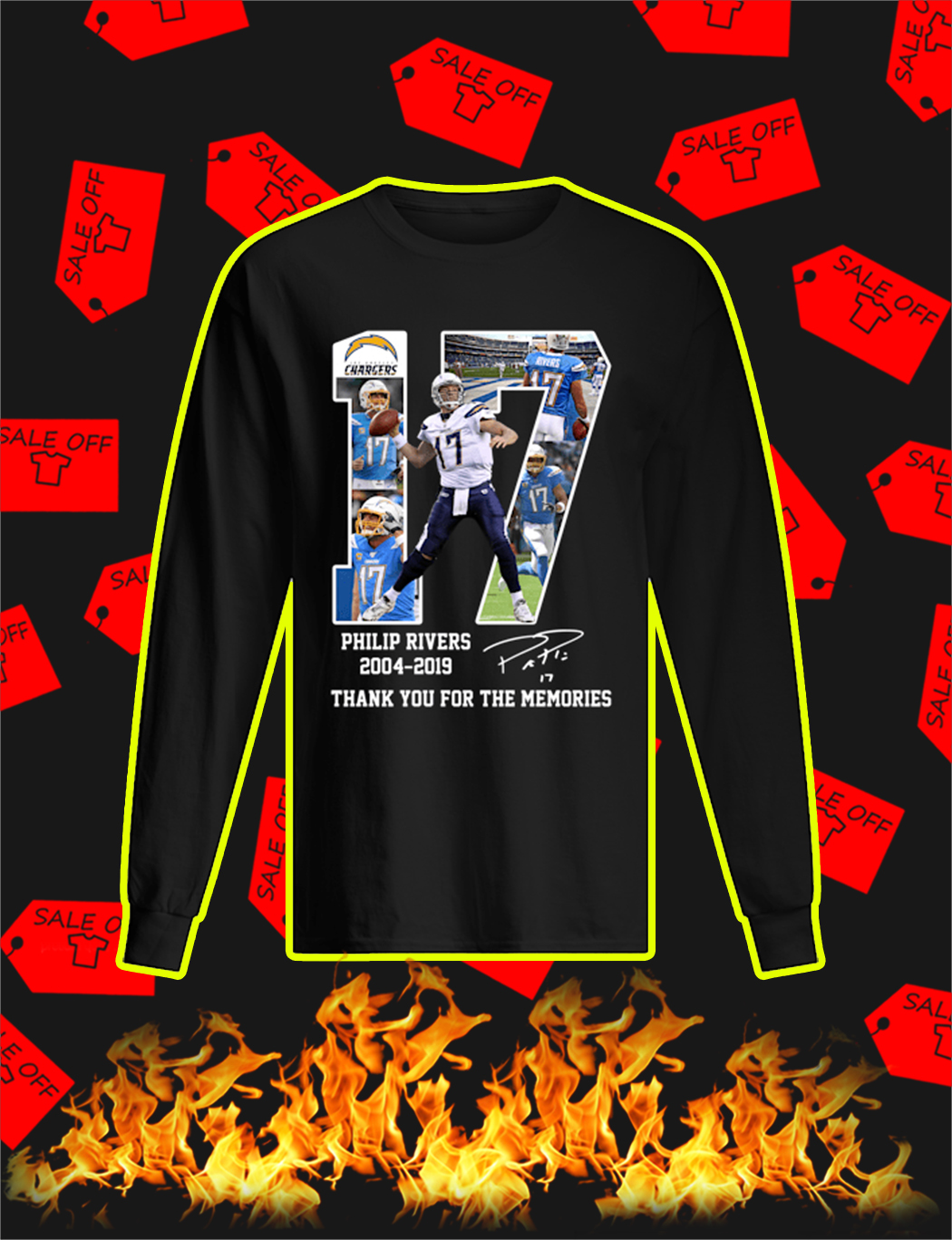 Philip Rivers 2004 2019 Thank You For The Memories longsleeve tee