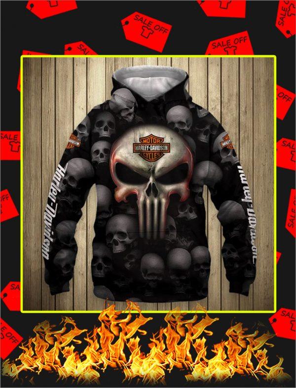 Punisher Skull Harley Davidson Motorcycle 3D Full Printing Hoodie