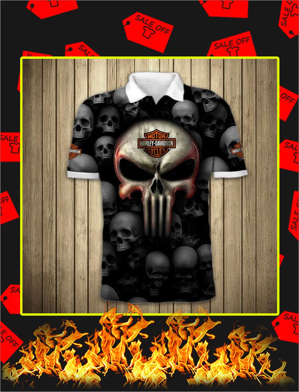Punisher Skull Harley Davidson Motorcycle 3D Full Printing Polo