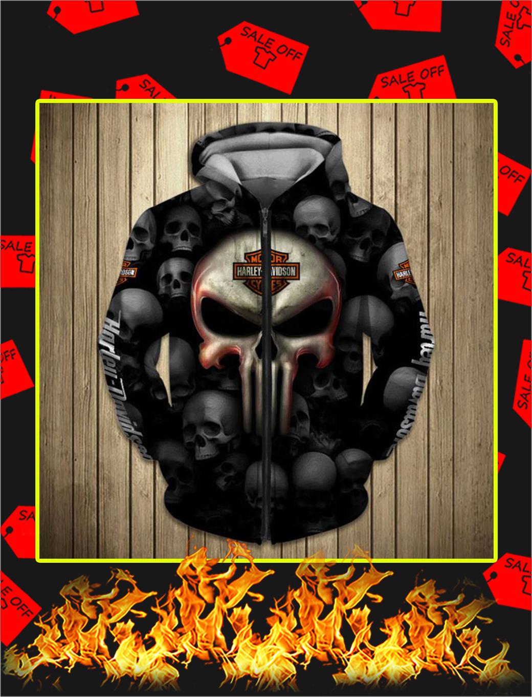 Punisher Skull Harley Davidson Motorcycle 3D Full Printing Zip Hoodie