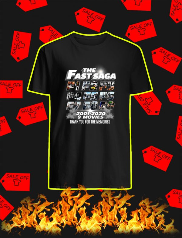 The Fast Saga 2001 2020 Thank You For The Memories shirt