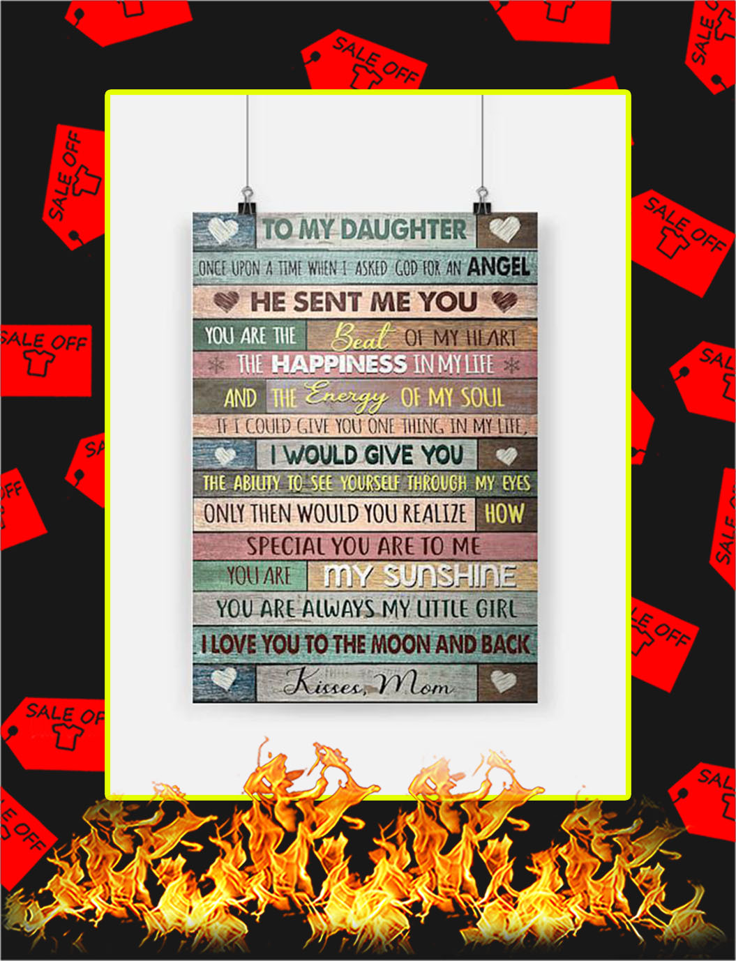 To My Daughter Kisses Mom Poster - A4