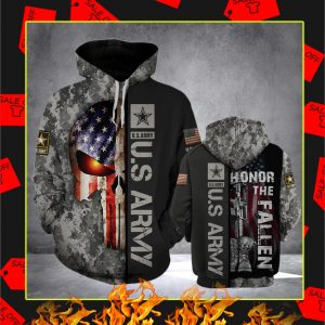 US Army Punisher Flag Camo 3D Hoodie