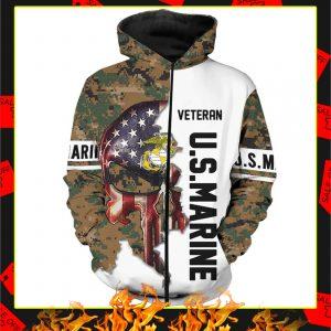 US Marine Veteran Punisher Camo 3D Zip Hoodie