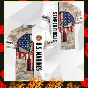 US Marines Semper Fidelis Punisher Skull 3D Shirt