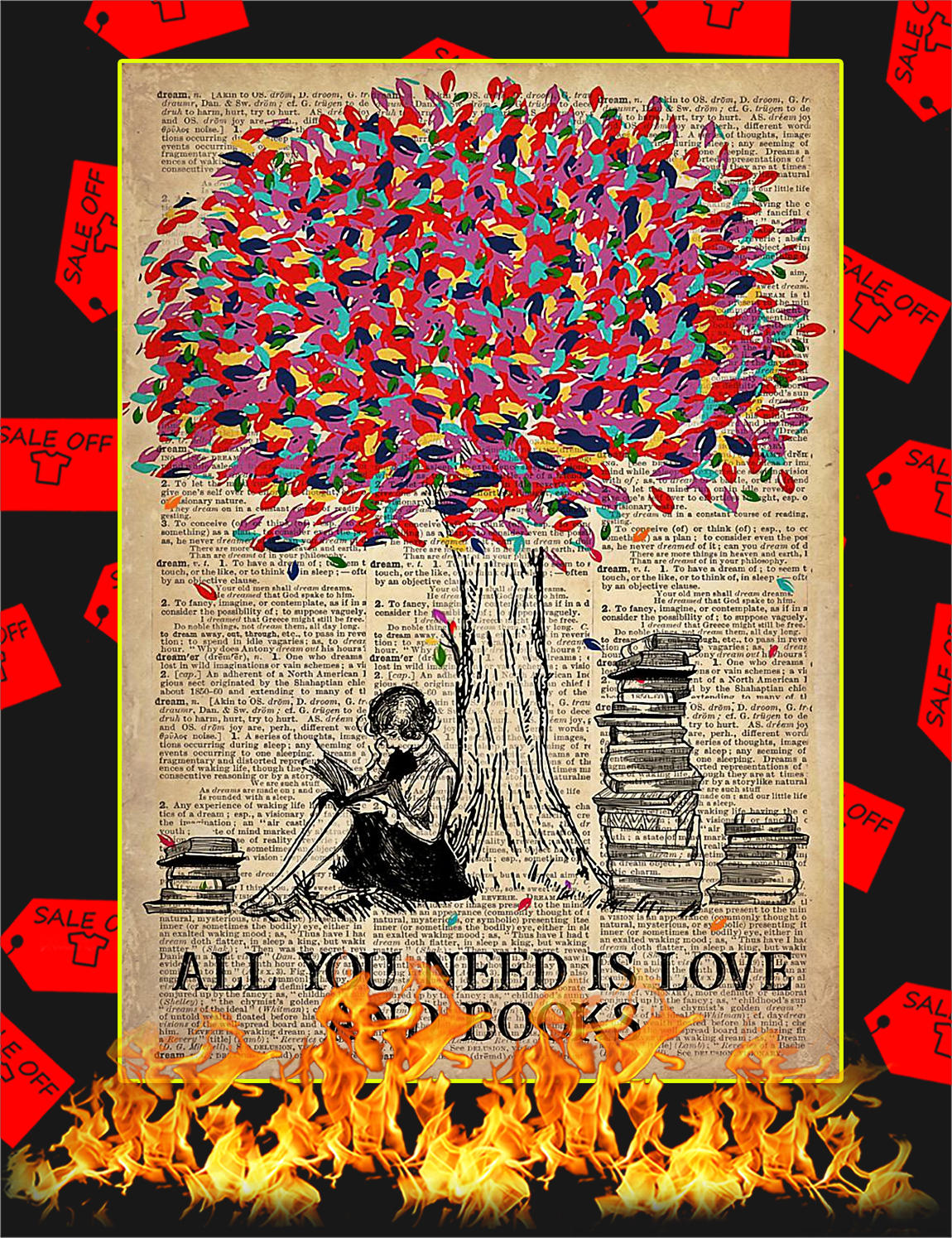 All You Need Is Love And Books Poster - A4