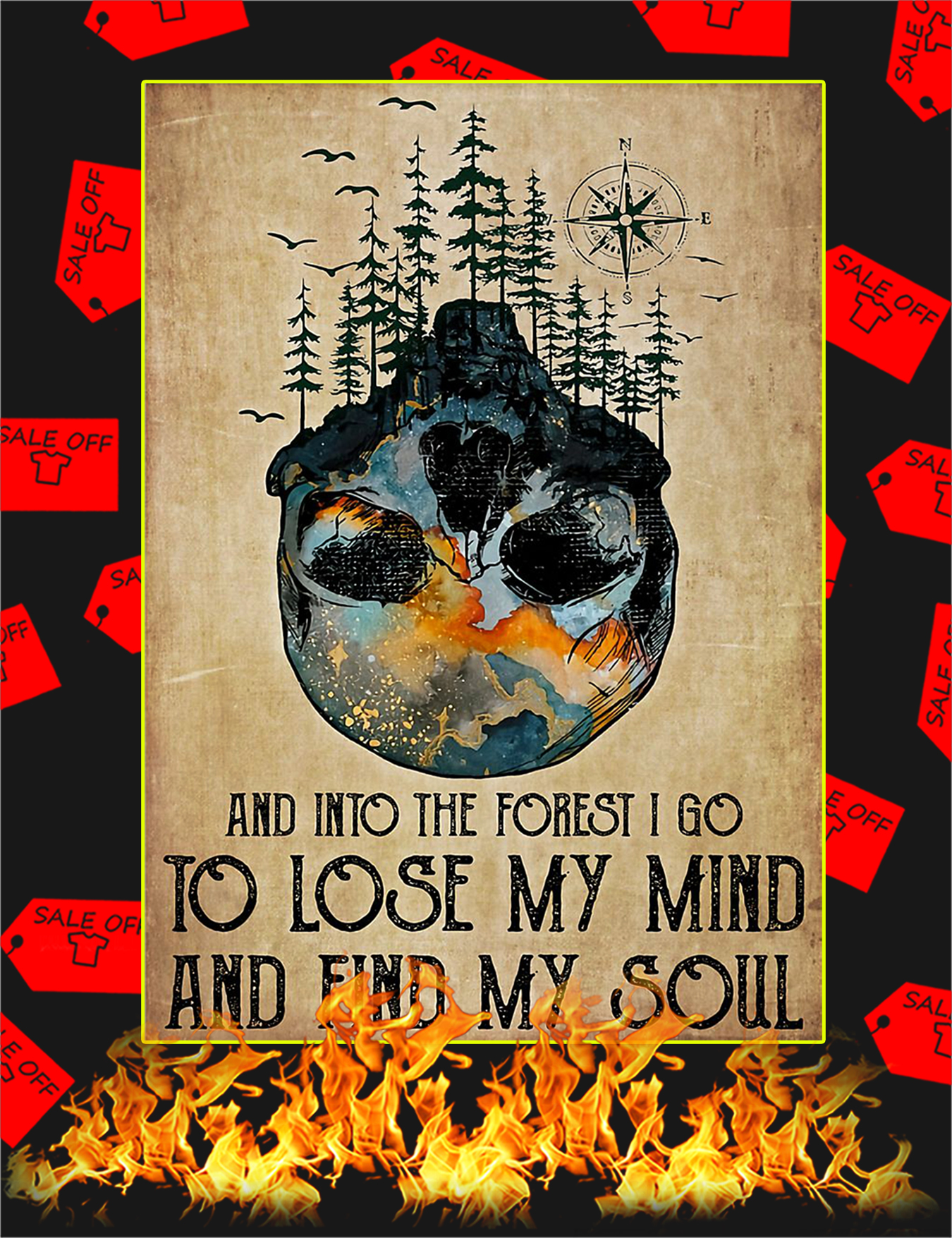 And Into The Forest I Go To Lose My Mind Skull Poster - A1