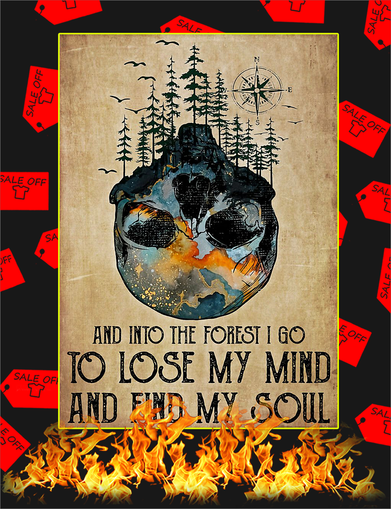 And Into The Forest I Go To Lose My Mind Skull Poster - A2