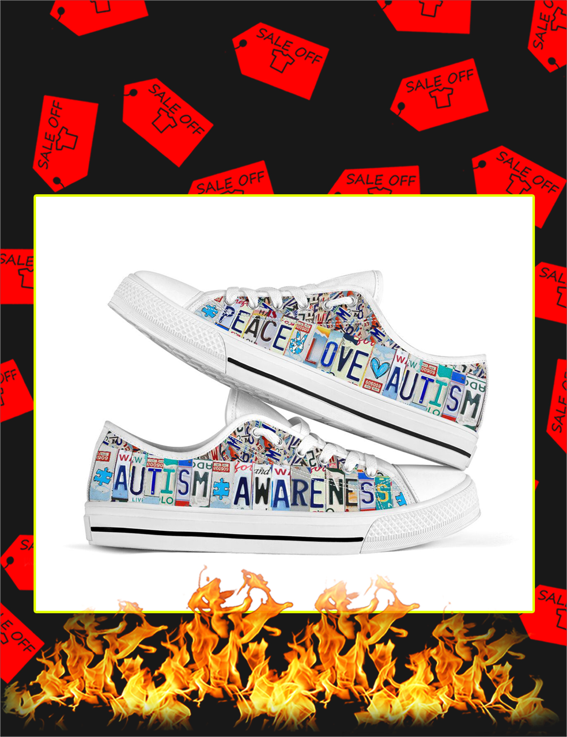 Autism Awareness Peace Love Autism Low Top Shoes - Picture 1