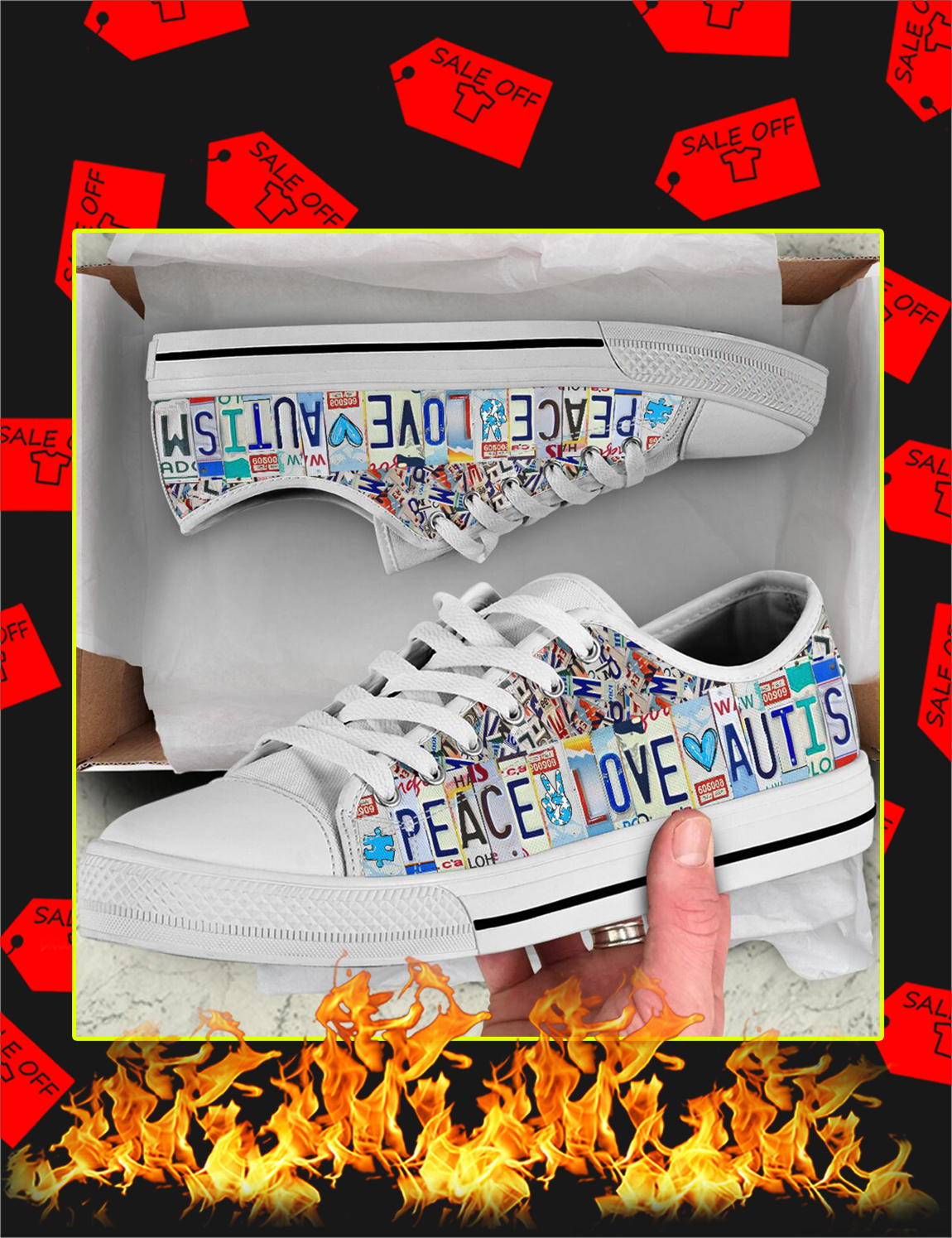Autism Awareness Peace Love Autism Low Top Shoes - Picture 3