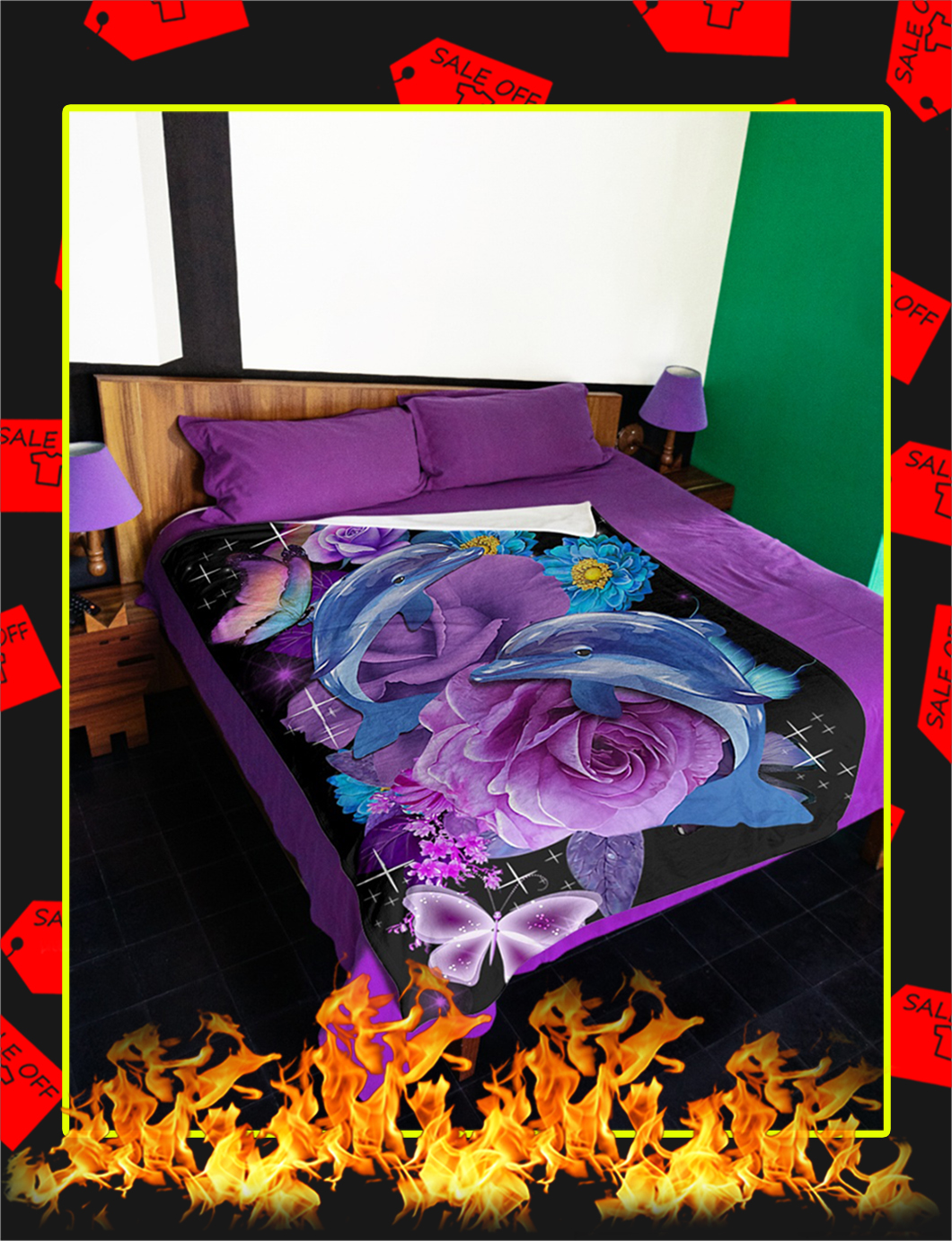 Beautiful Butterfly Dolphins Flower Blanket- picture 1