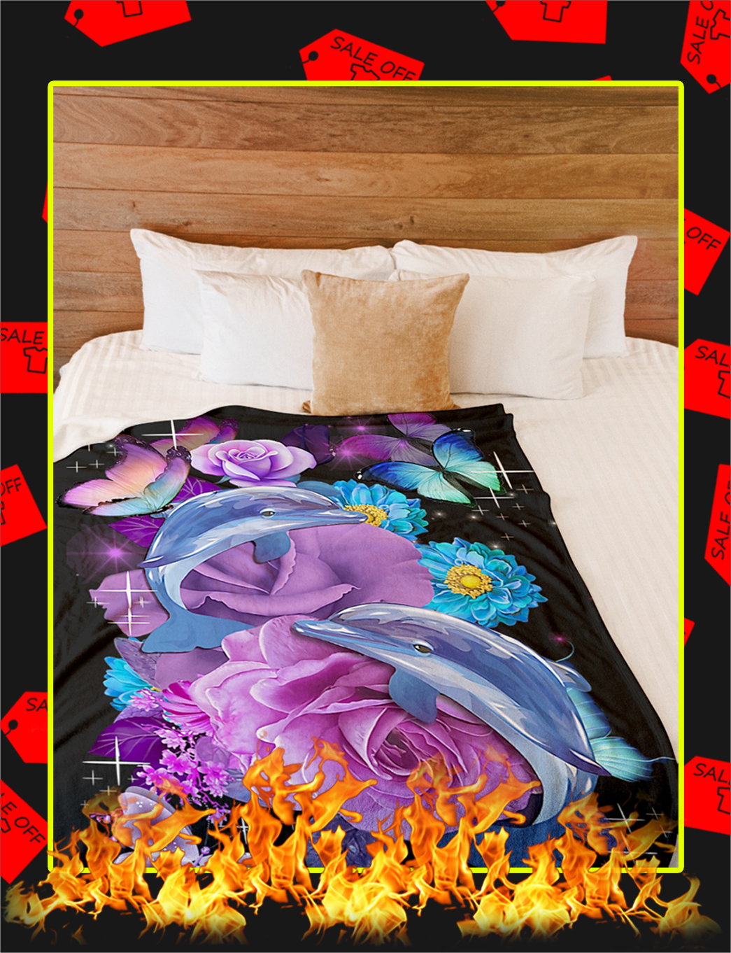 Beautiful Butterfly Dolphins Flower Blanket- picture 2