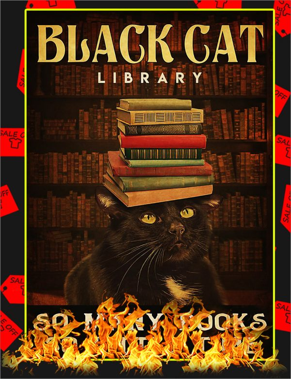 Black cat library so many books so little time poster