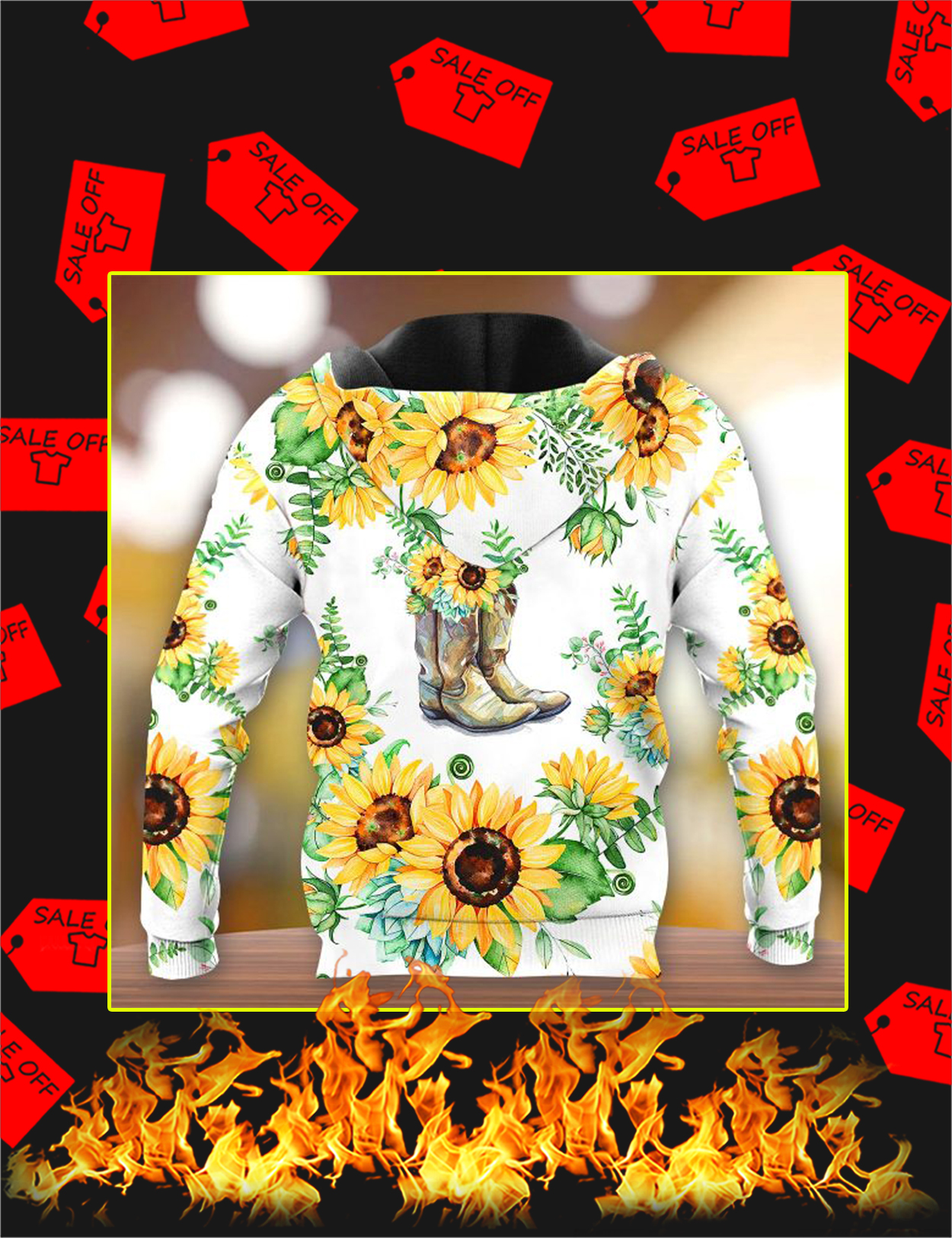 Boots Sunflower 3d All Over Printed hoodie - Back