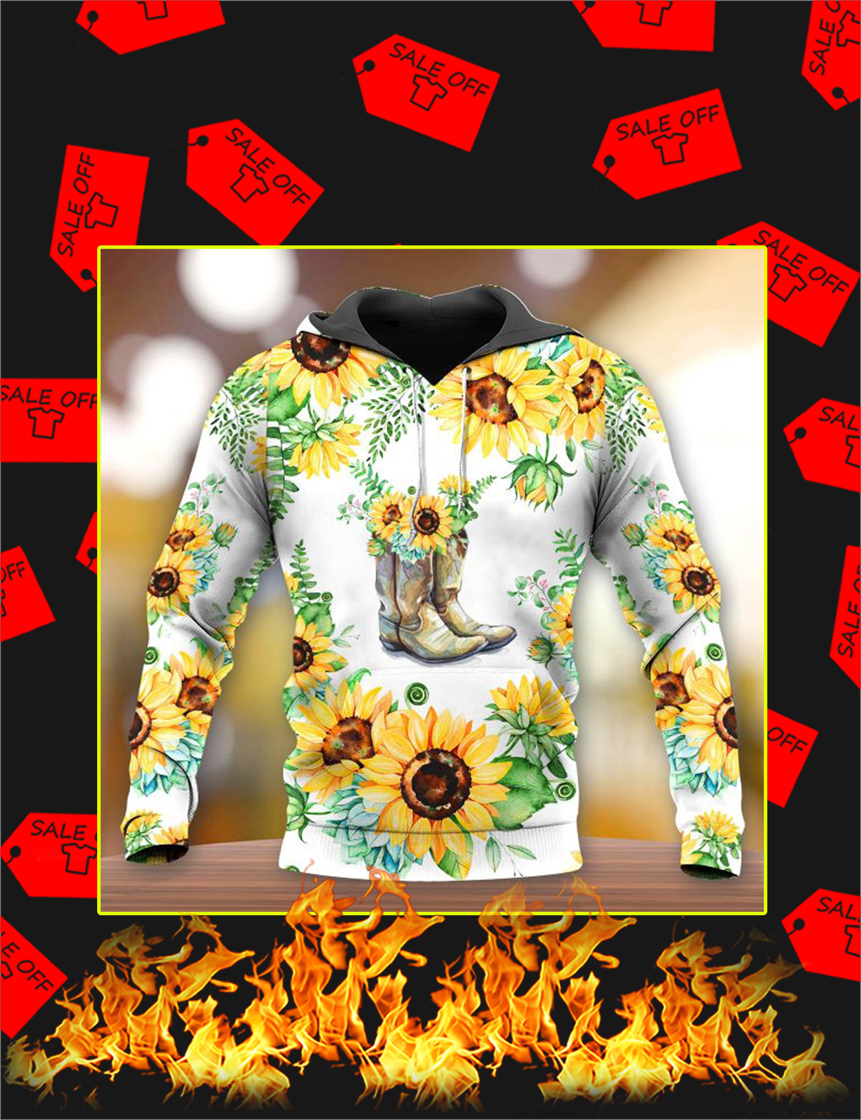 Boots Sunflower 3d All Over Printed hoodie - Front