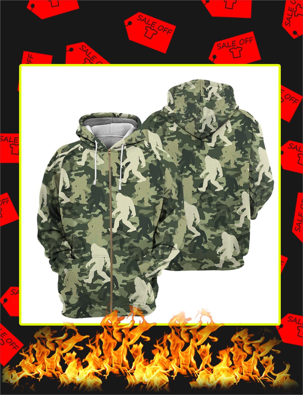 Camo Bigfoot 3D All Over Printed zip hoodie