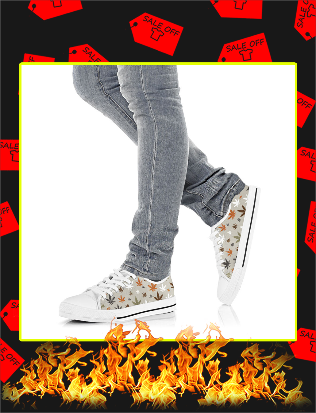 Cannabis Weed Low Top Shoes- picture 3