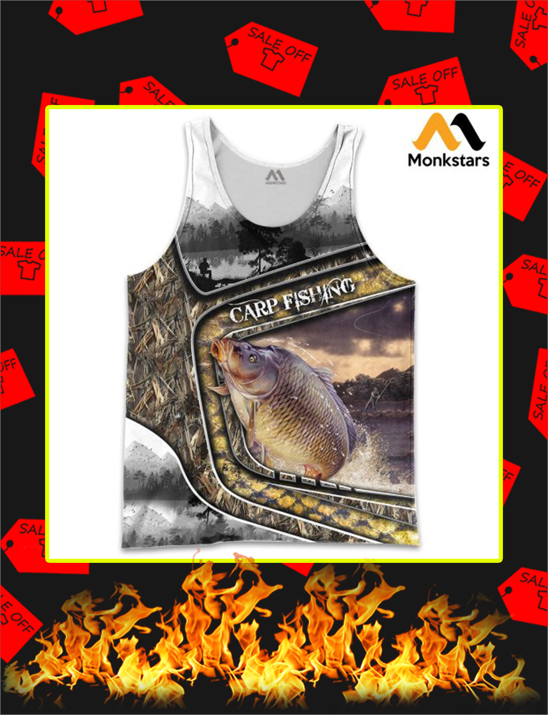 Carp Fishing Camo 3D All Over Printed tank top