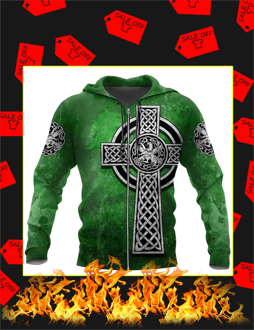 Celtic Cross Lion 3D All Over Printed Zip Hoodie