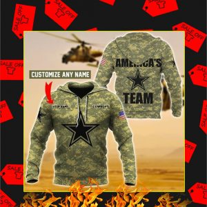 Cowboys America's Team Custom Name 3d Hoodie