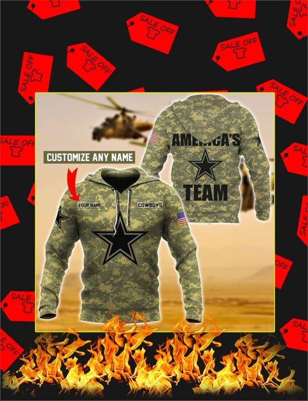 Cowboys America's Team Custom Name 3d Hoodie