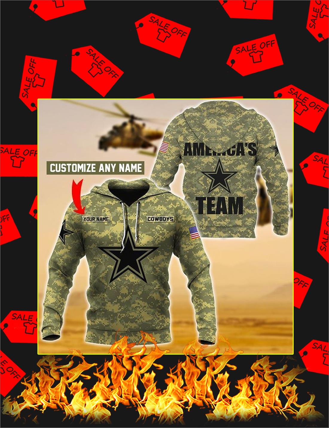 Cowboys America's Team Custom Name 3d Hoodie - Size L