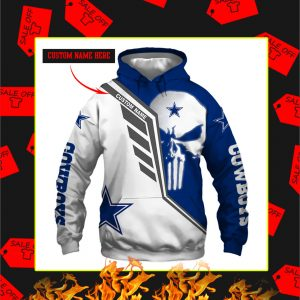 Dallas Cowboys Punisher Skull Personalized Custom Name 3d Full Print hoodie