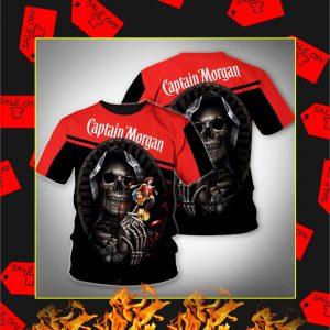 Death Skull Hug Captain Morgan 3D Shirt