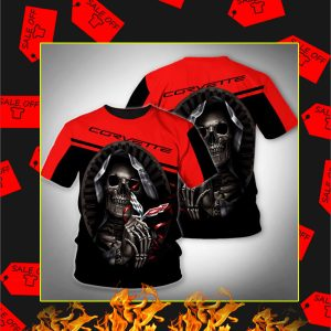 Death Skull Hug Corvette 3D Shirt