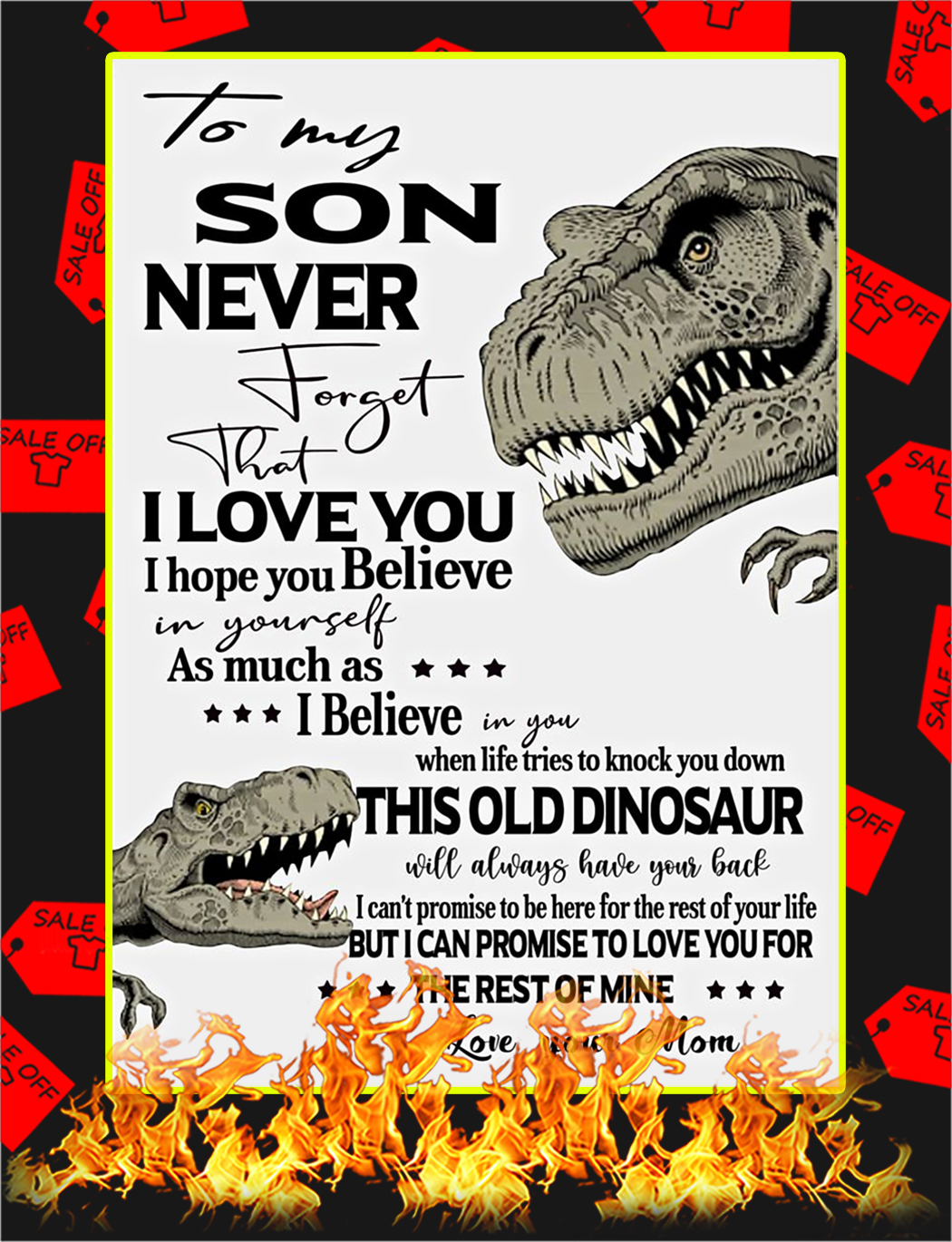 Dinosaurs To My Son Mom Poster - A3