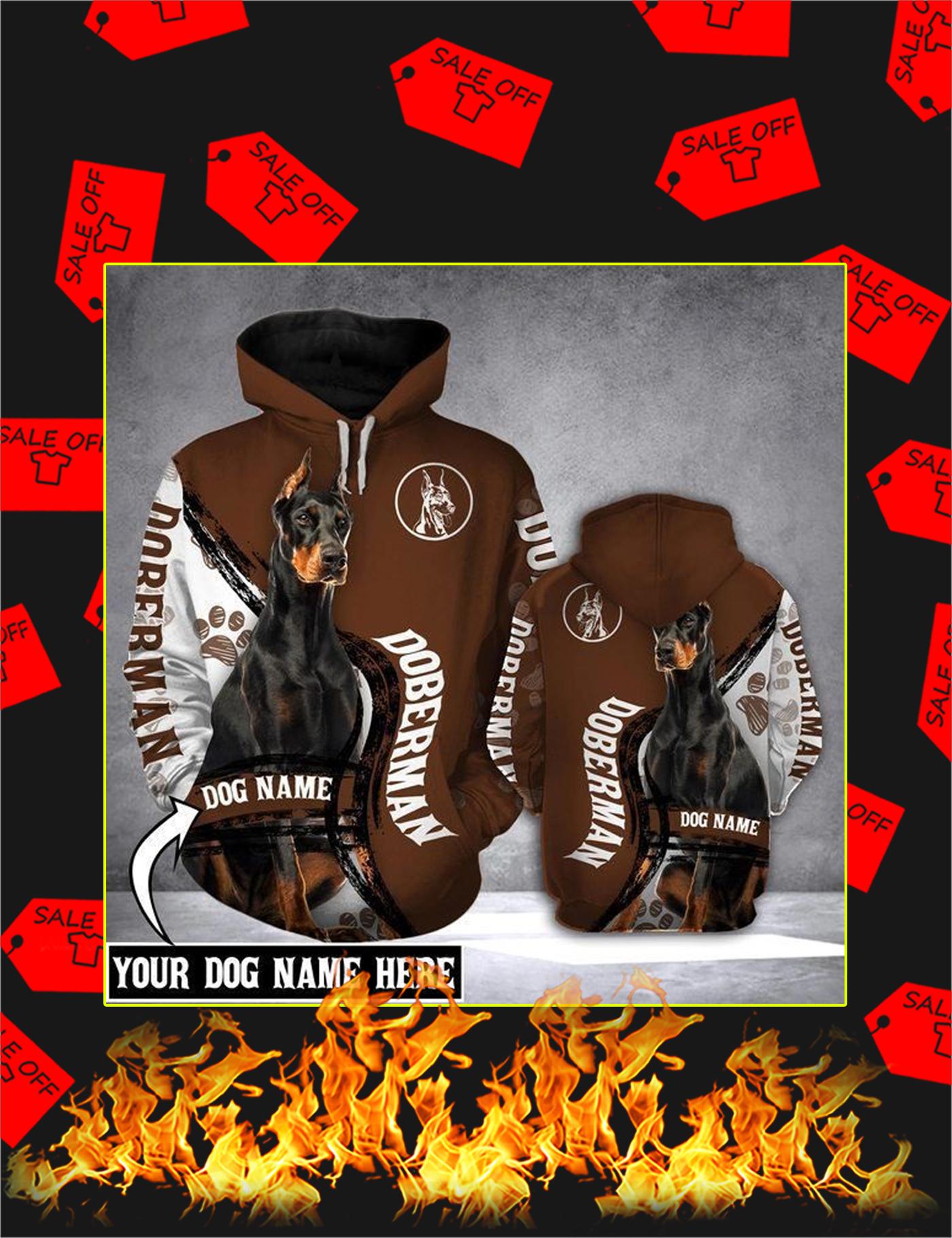 Doberman Dog Custom Name 3d Hoodie - Size L