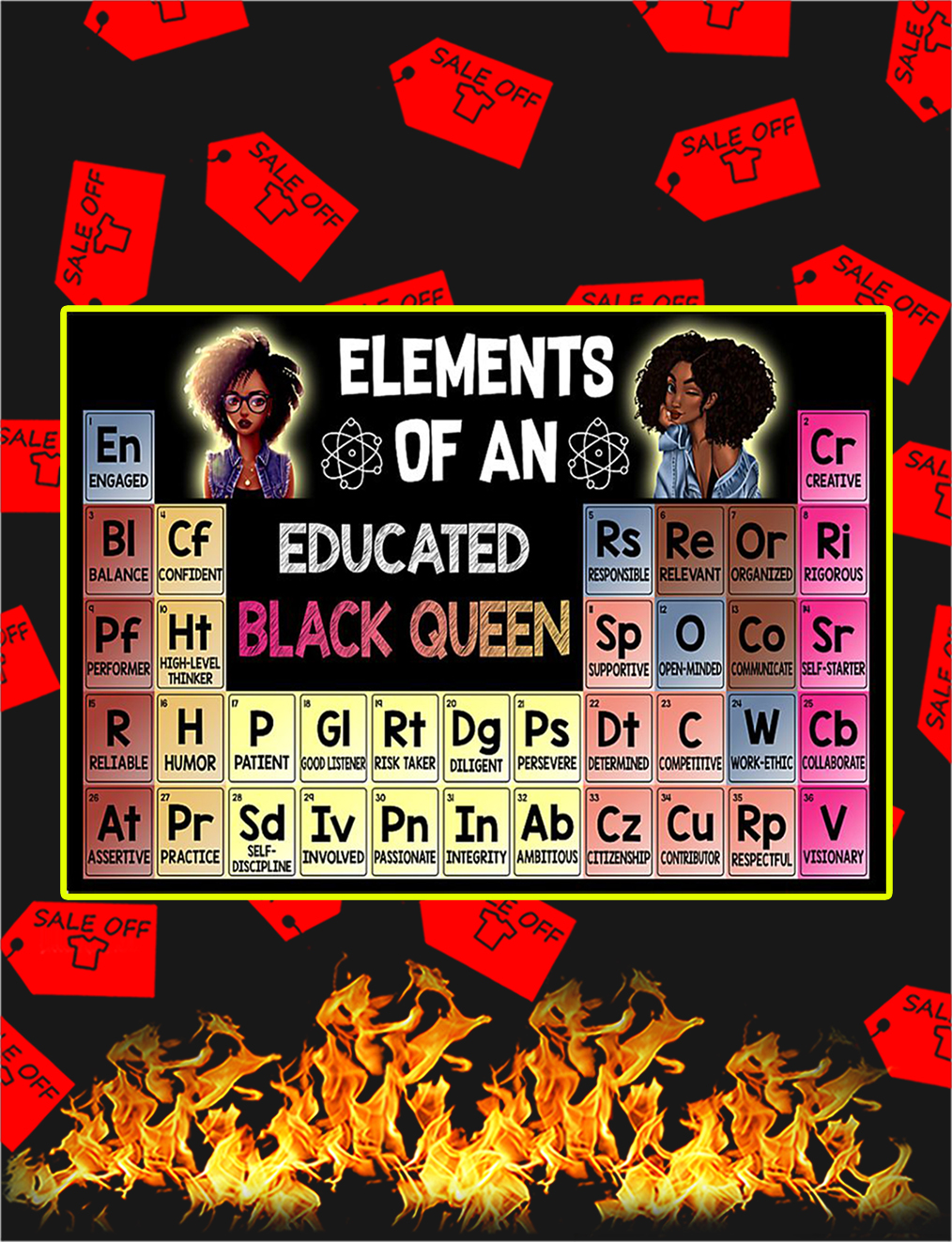 Elements Of An Educated Black Queen Poster - A4