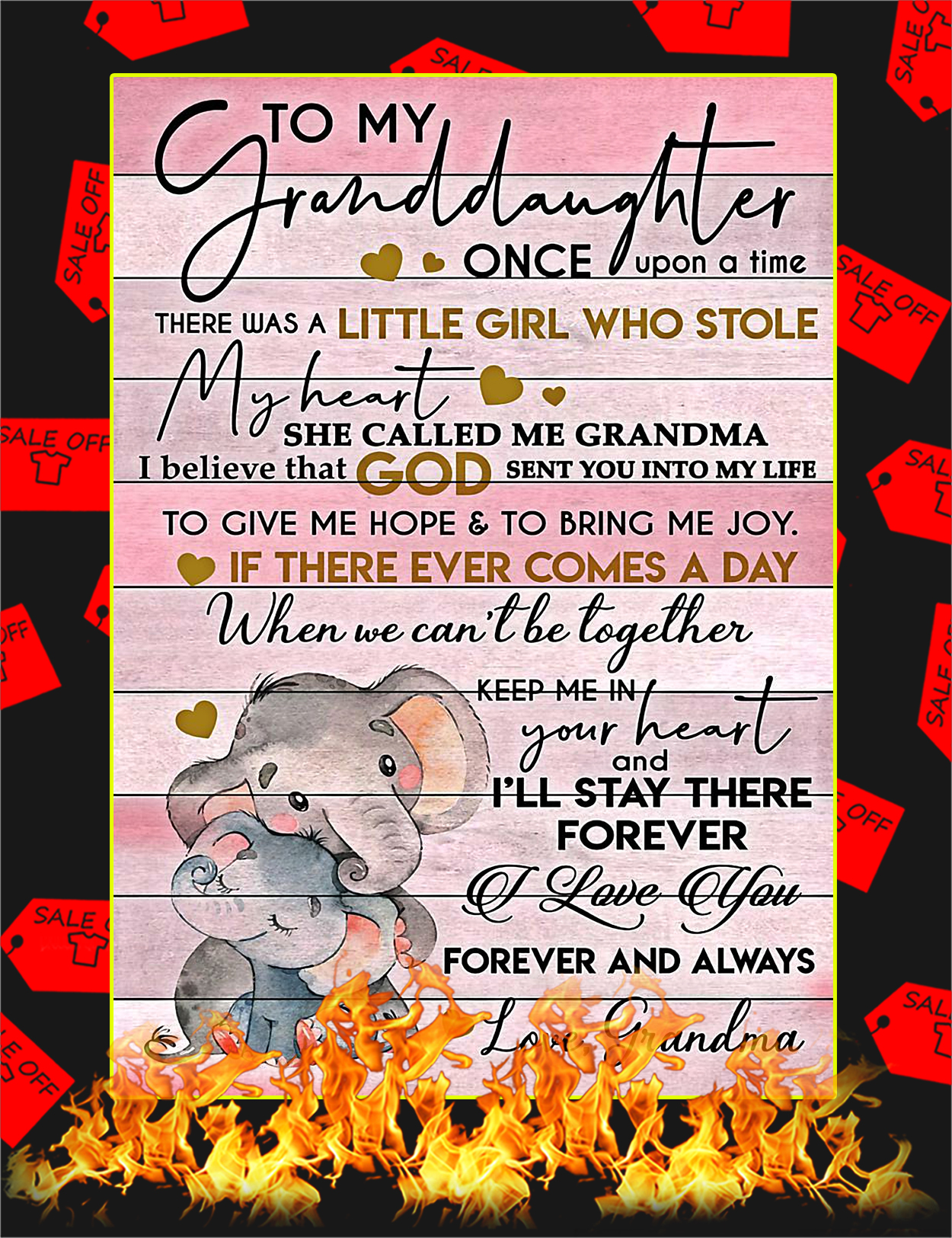 Elephant To My Granddaughter Grandma Poster - A4