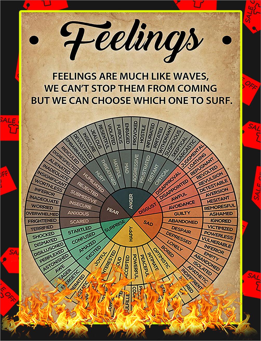 Feelings Wheel Feelings Are Much Like Waves Poster - A3