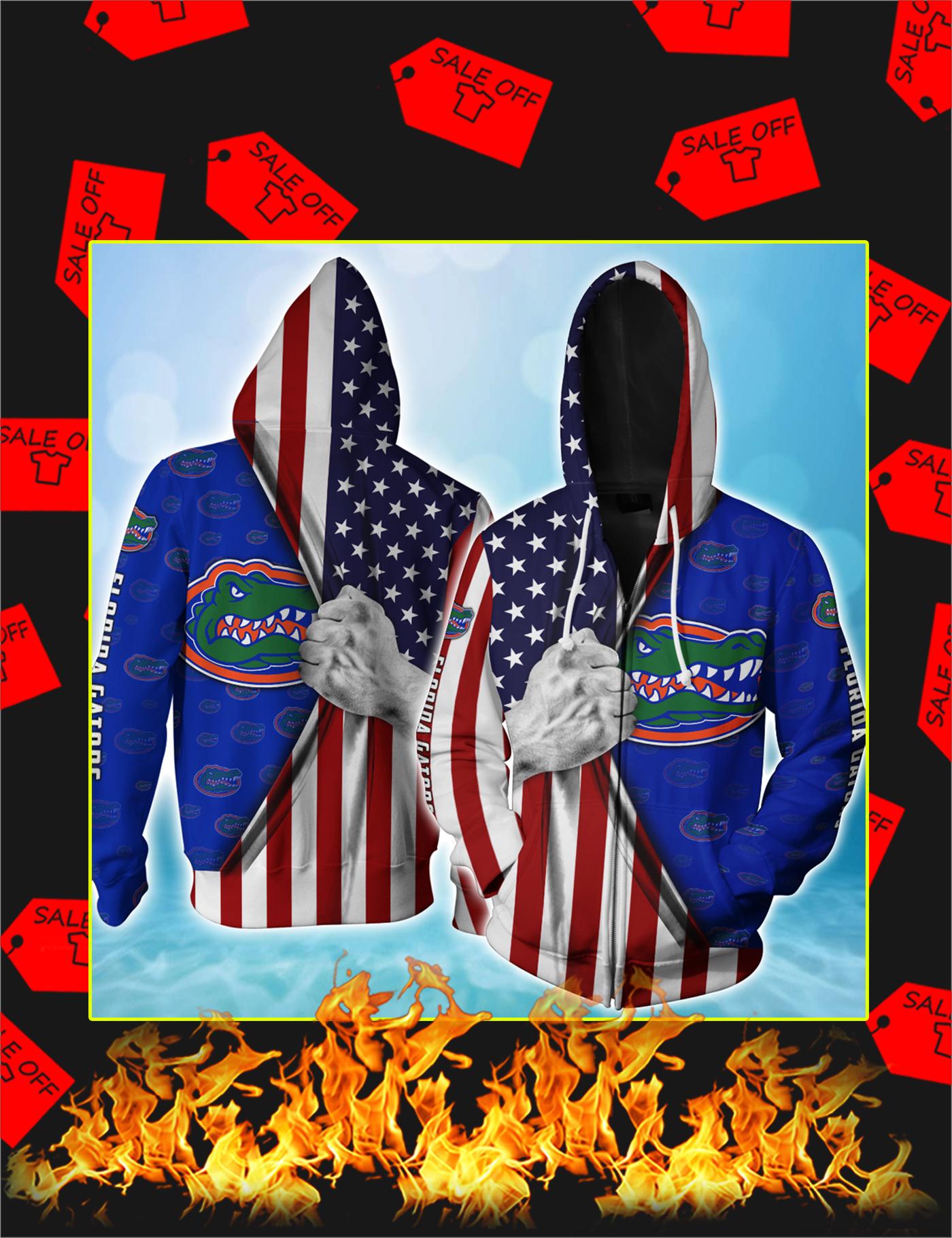 Florida Gators American Flag 3d Zip Hoodie