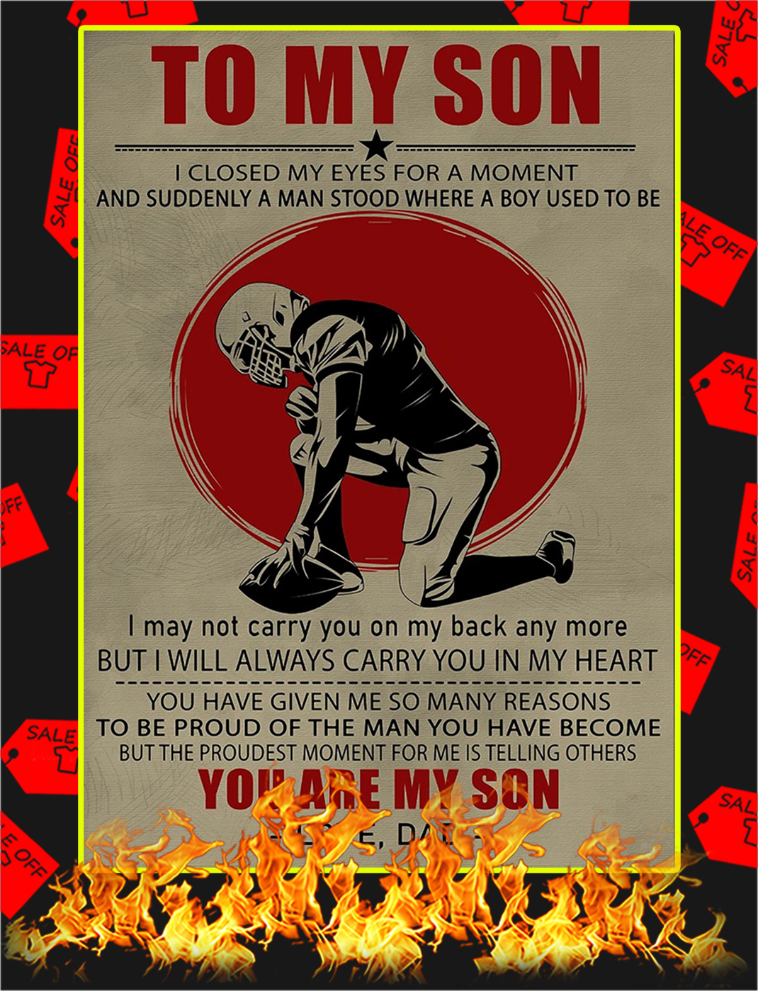 Football To My Son Dad Poster - A2